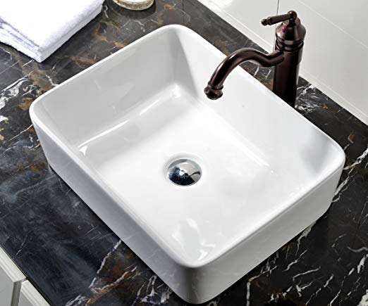 3. VCCUCINE Rectangle Above Counter Porcelain Ceramic Bathroom Vessel Vanity Sink Art Basin
