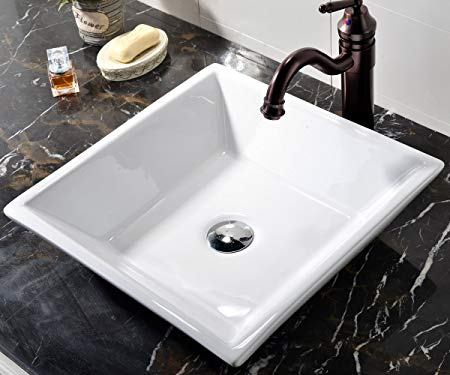 7. VCCUCINE White Square Above Counter Porcelain Ceramic Vessel Vanity Bathroom Sink Art Basin