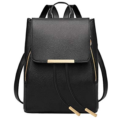 7. COOFIT Black Faux Leather Backpack for Girls Schoolbag Casual Daypack
