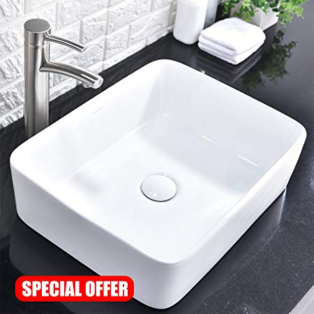 5. Comllen Above Counter White Porcelain Ceramic Bathroom Vessel Sink Art Basin
