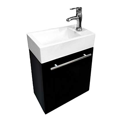 10. Small Wall Mount Bathroom Vanity Cabinet Sink With Faucet