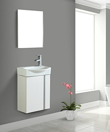 1. Fine Fixtures Compacto Small Bathroom Vanity Set With Sink -Wall-Hung Cabinet- Sink top, And Mirror Included (White)