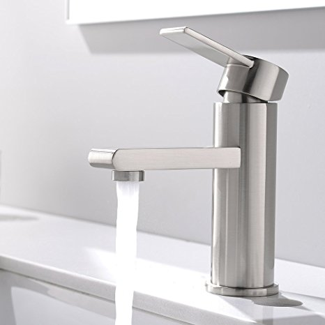 8. VCCUCINE Modern Commercial Brushed Nickel Single Handle Bathroom Faucet, Laundry Vanity Sink Faucet With Two 3/8