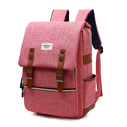 9. Vintage Laptop Backpack Canvas College Backpack School Bag Fits 15inch Laptop by Puersit