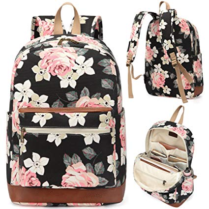 5. Kenox Girl's School Rucksack College Bookbag Lady Travel Backpack 14Inch Laptop Bag (Floral)