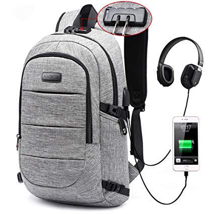 8. Laptop Backpack, Business Anti-Theft Waterproof Travel Backpack with USB Charging Port & Headphone interface for College Student for Women Men, Fits Under 17-Inch Laptop Notebook by AMBOR