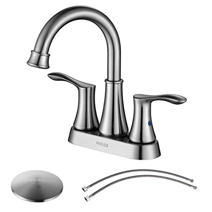 2. PARLOS Swivel Spout 2-Handle Lavatory Faucet Brushed Nickel Bathroom Sink Faucet with Pop-up Drain and Faucet Supply Lines, Demeter 13627