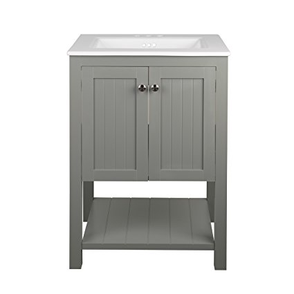 7. Monroe Bathroom Vanity Set with Ceramic Top in White and Integrated Sink (30