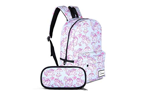 10. Large Rainbow Unicorn Backpack, Laptop Bag with Pencil Case Set for School, Travel
