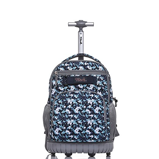 5. Tilami Rolling Backpack 18 inch for School Travel, Blue Camouflage