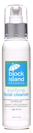 10. Block Island Organics - Organic Purifying Facial Cleanser with Antioxidants Vitamin C and E - Gentle Botanicals Cleanse Skin Leaving Face Refreshed and Hydrated - EWG Top Rated - 4 FL OZ