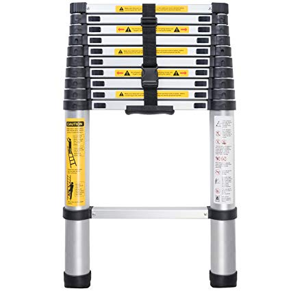 330-pound Capacity 12.5 ft Aluminum Telescopic//Telescoping Extension Ladder with Spring Loaded Locking Mechanism Non-slip Ribbing